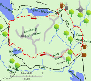 Loughrigg Tarn Fell Map - Lake District days out